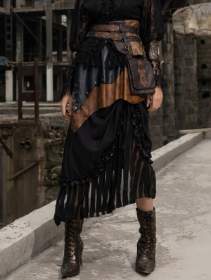 Women's Coffee and black Long Splice Steampunk Skirt