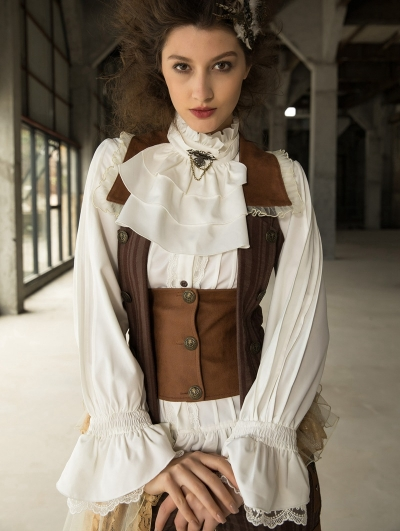 Women's White Steampunk Long Sleeve Blouse with Detachbale Bowtie