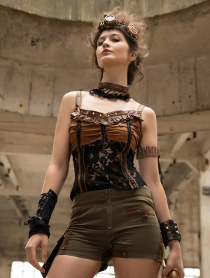 Women's Black and Coffee Steampunk Tank Top with Detachable Collar