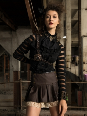 Women's Black Gothic Steampunk Long Sleeve Blouse with Detachbale Bowtie