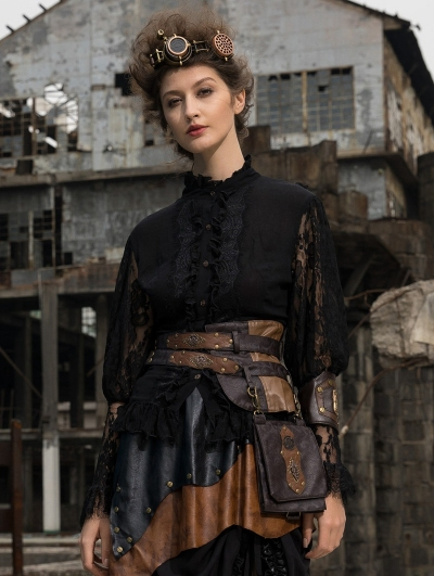 Women's Gothic Steampunk Lace Long Sleeve Blouse