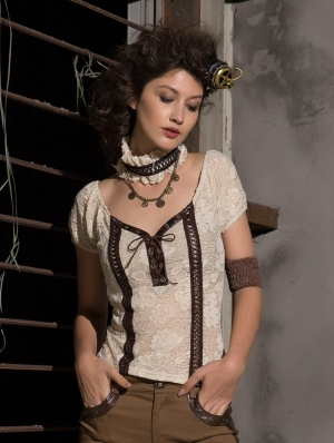 Women's Ivory Lace Short Sleeves Steampunk Shirt with Collar