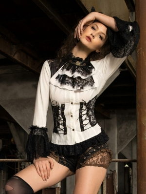 Women's White and Black Gothic Steampunk Blouse with Detachbale Bowtie