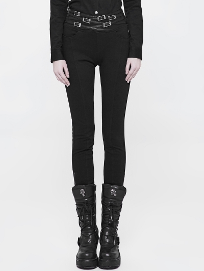 Black Gothic Punk Daily Life Long Pants for Women