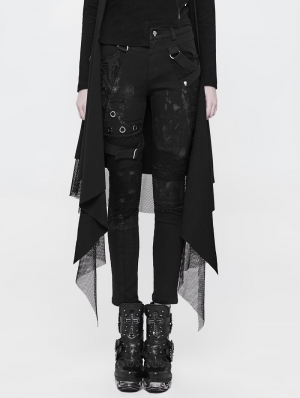 Black Gothic Punk Personality Dilapidated Trousers for Women