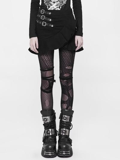 Black Gothic Punk Buckle Belt Short Skirt for Women