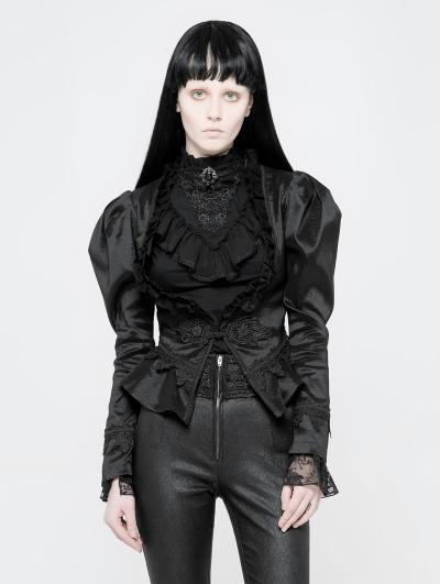 Black Gothic Vintage Palace Style Short Coat for Women