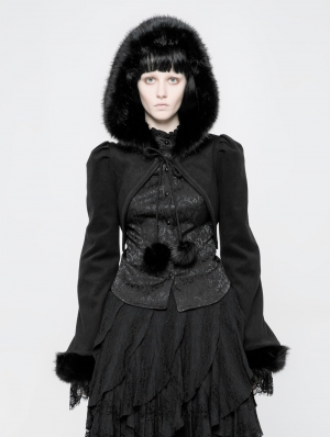 Black Gothic Lolita Short Hooded Coat for Women