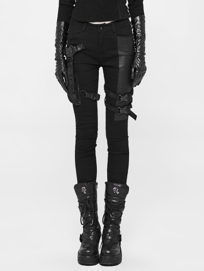 Black Gothic Futuristic Punk Tight Trousers for Women
