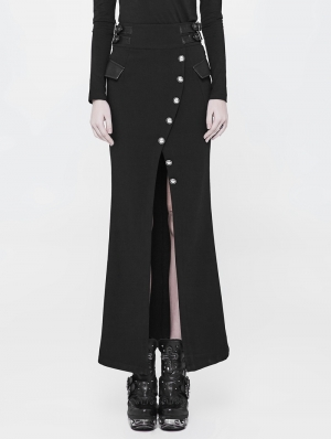 Black Gothic Military Uniform Long Half Skirt for Women