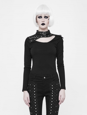 Black Gothic Punk Long Sleeve T-Shirt for Women