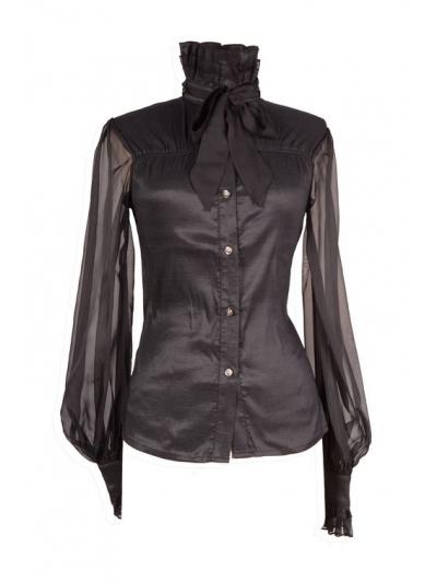 Black Sheer Long Sleeves High Collar Womens Gothic Blouse