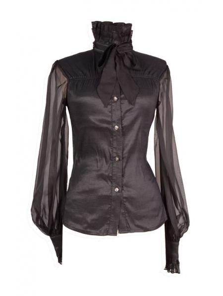 Womens Black Sheer Blouse 80