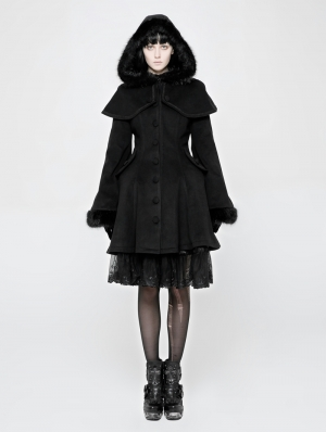 Black Gothic Lolita Swallow Tail Dress Coat for Women