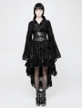 Black Gothic Lolita Flocking Printing Kimono Dress