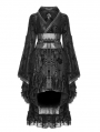 Black Gothic Lolita Flocking Printing Kimono Dress