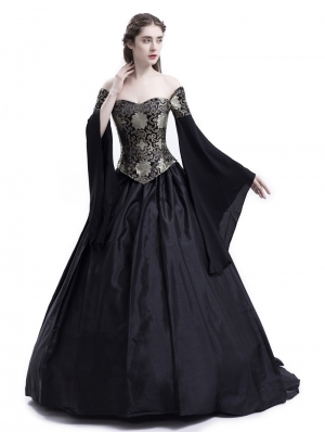 Black Theatrical Vintage Gothic Victorian Ball Dress
