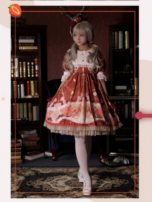 5dd26e2237b3 Strawberry Witch The Adventures of Clock Chiffon Sweet Lolita OP Dress