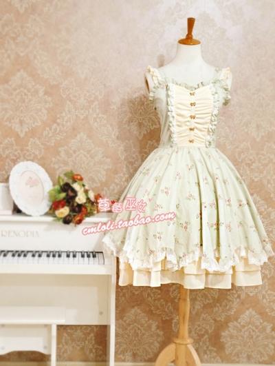 Strawberry Witch Floral Lolita Jumper Dress