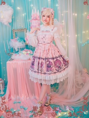 Strawberry Witch Alice's Dreamland Chiffon Lolita Jumper Dress