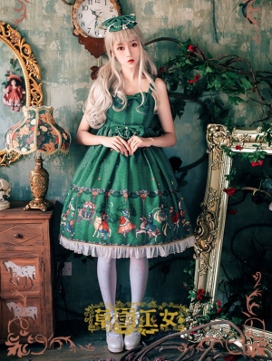 Strawberry Witch Playground Printed Sweet Lolita Jumper Dress