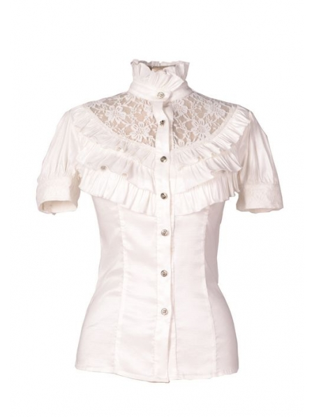 White Lace Blouse With Collar 50