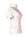 White High Collar Short Sleeves Lace Womens Gothic Blouse