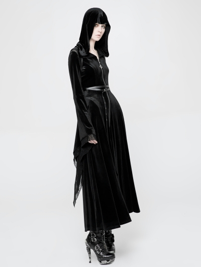 Black Gothic Witchy Velvet Long Hooded Coat for Women