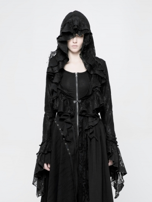 Black Gothic Decadent Short Coat for Women