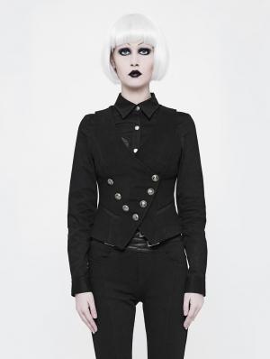 Black Gothic Uniform Woolen Waistcoat for Women