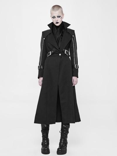 Black Gothic Punk Handsome Long Coat for Women