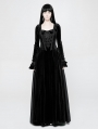 Black Velvet Gothic Victoria Long Sleeve Dress