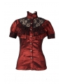 Red High Collar Short Sleeves Lace Womens Gothic Blouse
