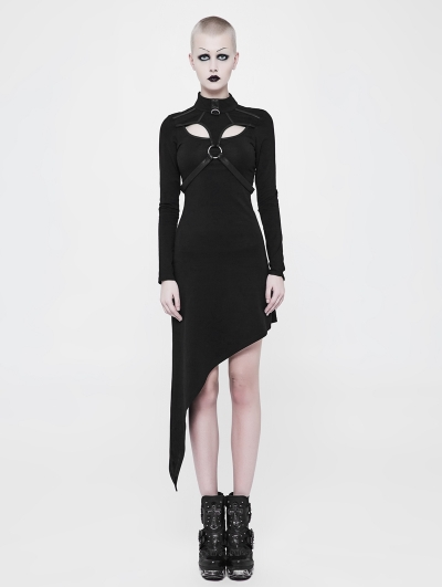Black Gothic Punk Asymmetric Knit Dress