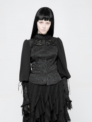 Black Gothic Jacquard Shirt for Women