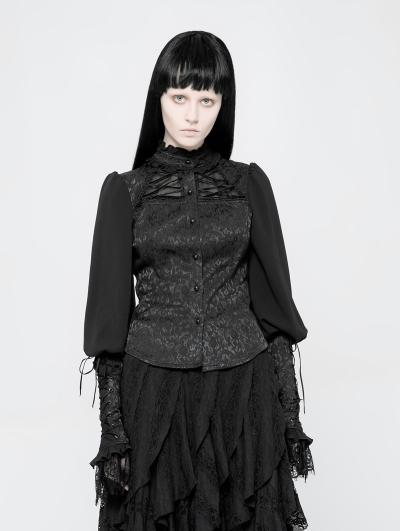 Black Gothic Jacquard Shirt for Women