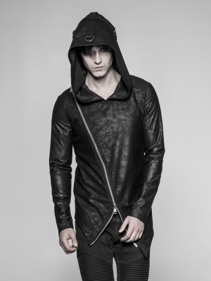 Black Gothic Punk Daily Pullovers Hoodie for Men