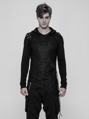 Black Gothic Diablo Punk Hooded T-Shirt for Men