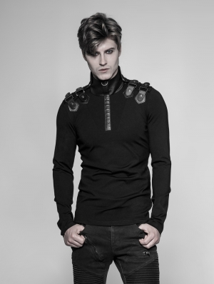 Black Gothic Uniform Long Sleeve T-Shirt for Men