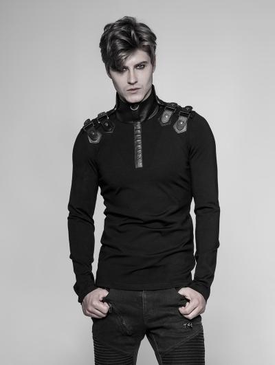 Black Gothic Uniform Long Sleeve T-Shirt for Men