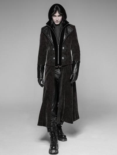 Brown Gothic Detachable Gentleman Style Punk Jacket for Men