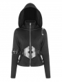 Black Gothic Punk Short Cardigan Sweater for Women