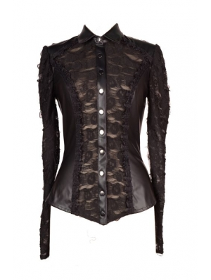 Women s Black Leather Blouses