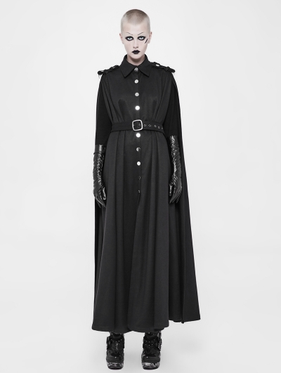 Black Gothic Two Wear Long Military Uniform Cloak for Women