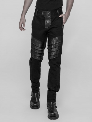 Black Gothic Punk Armor Trousers for Men