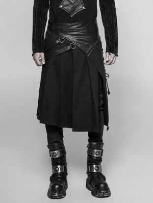 Black Gothic Punk Removable Half Skirt for Men