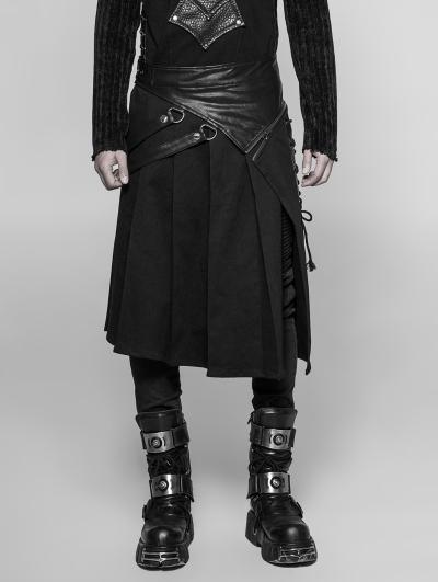 Black Gothic Punk Removable Half Skirt for Men