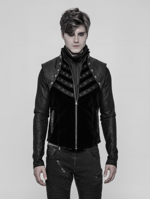 Black Gothic Punk Metal Vest for Men