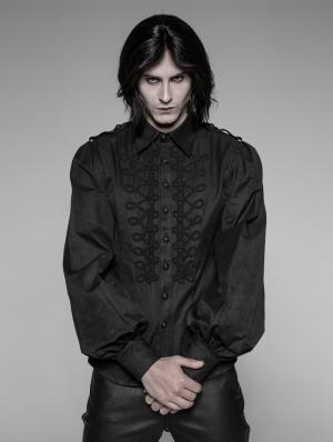 Black Gothic Uniform Retro Long Sleeves Blouse for Men