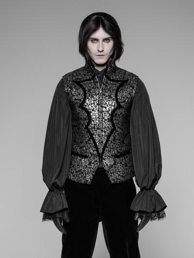 Silver Reto Gothic High Collar Waistcoat for Men